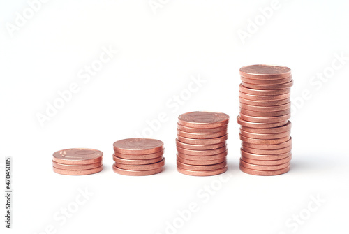 Stacks of euro cents used