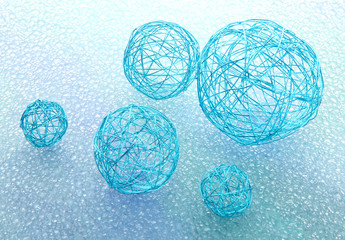 beautiful decorative balls, on blue background
