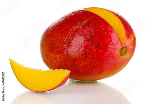 Ripe appetizing mango isolated on white