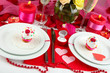 Table setting in honor of Valentine's Day close-up