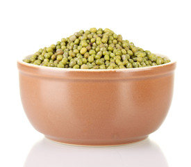 Green mung beans in bowl isolated on white