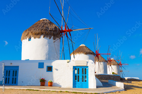 Staande foto Athene Close on the first of the windmills in Mykonos island cyclades G