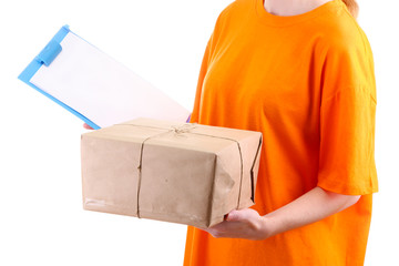 courier with parcel box and clipboard, isolated on white