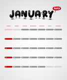 Funny year 2013 vector calendar January