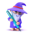 Wizard writes with his magic pen...