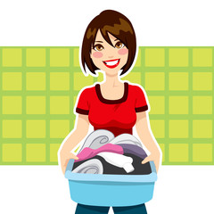 Woman Laundry Chores