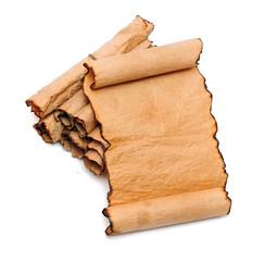 blank old sheet paper on scrolls