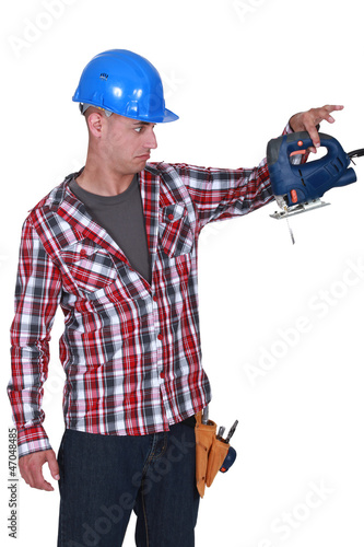 Workers with broken chainsaw