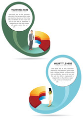 Abstract vector business graph with people