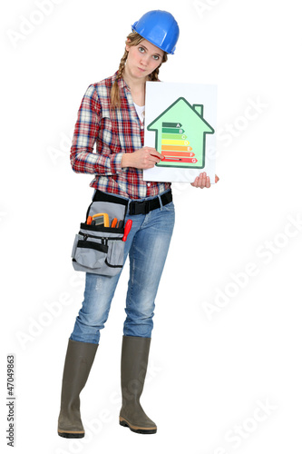 Female worker with an energy efficiency logo