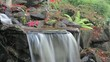 Timelapse of Waterfall in Backyard Garden in Autumn