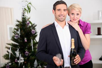 happy couple celebrating new year's eve