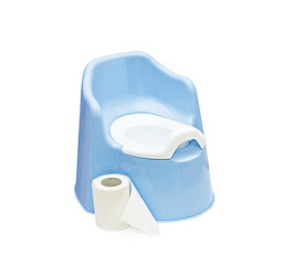 pot and toilet paper, on white background.