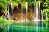 Fototapety Beautiful waterfalls at Plitvice Lakes National Park