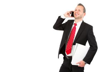 Manager isoliert mit Smartphone