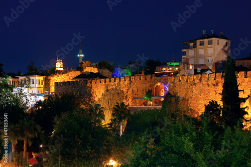 Old town Kaleici in Antalya, Turkey at night