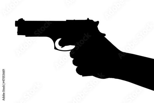 Leinwanddruck Bild Hand with pistol