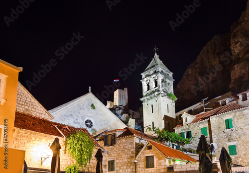 Old fort in Omis, Croatia at night