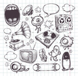Fototapety Set of hand drawn elements