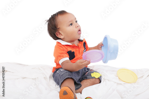 Adorable One Year Old Boy Playing Toy Isolated