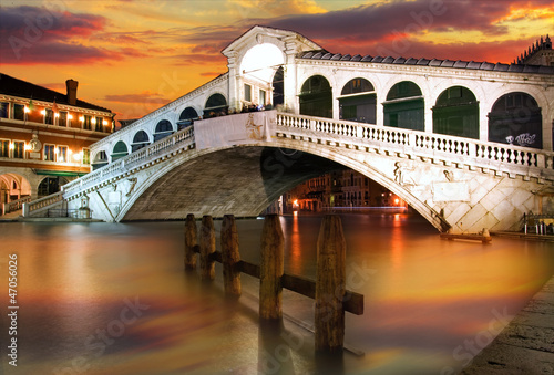 Rialto Bridge, Venice at dramatic sunset