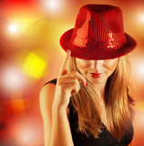 Woman wearing red hat