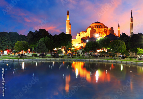 Hagia Sofia with reflection - Isntanbul, Turkey