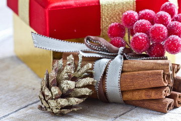 Decorative christmas composition on wooden table