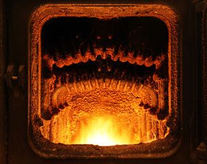 Furnace with fire