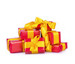 red gifts with a yellow ribbon and a bow