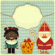 Christmas card with Sinterklaas