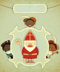 Christmas card with Dutch Santa Claus - Sinterklaas