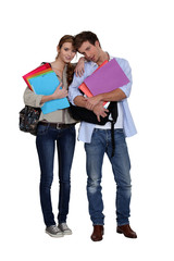 Students with files