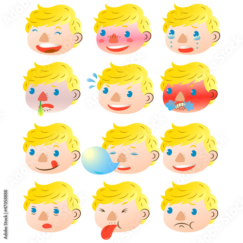 Blond boy facial expressions