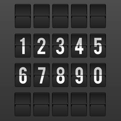 Flipping white numbers panel timetable