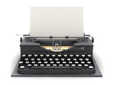 Retro typewriter and blank sheet