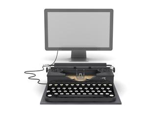 Retro typewriter and computer monitor