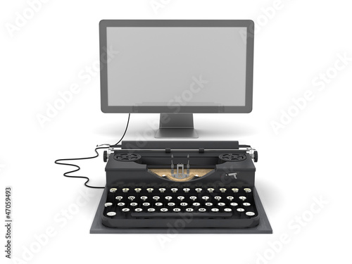 Retro typewriter and computer monitor