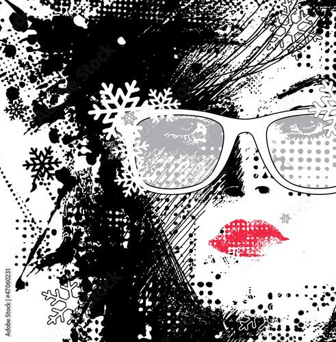 Papiers peints Visage de femme woman in glasses