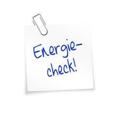 Notizzettel weiß mit Büroklammer - Energiecheck!