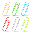 Set of color paper clips, vector eps10 illustration