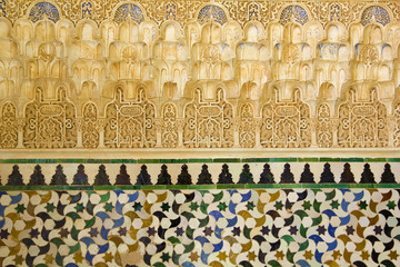 Decorative arabic reliefs and tiles. Generalife