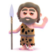 Caveman man waving with spear
