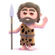 Caveman man waving with spear