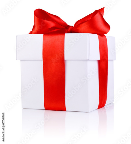 One White boxs tied Red satin ribbon bow Isolated on white backg