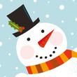 Cute happy Snowman face with snowing background