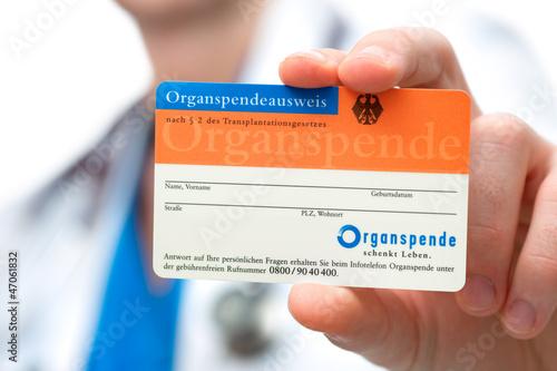 Leinwanddruck Bild Organspendeausweis