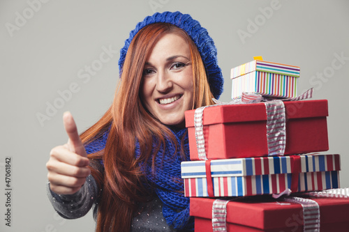 WInter woman with gifts