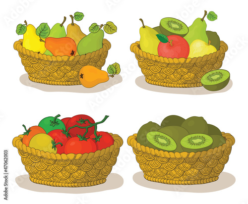 Baskets with fruits and vegetables