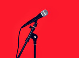 microphone red background